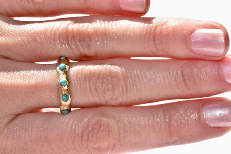 Mini Gold + Turquoise Eternity Band