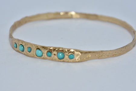 Gold + Turquoise Bangle