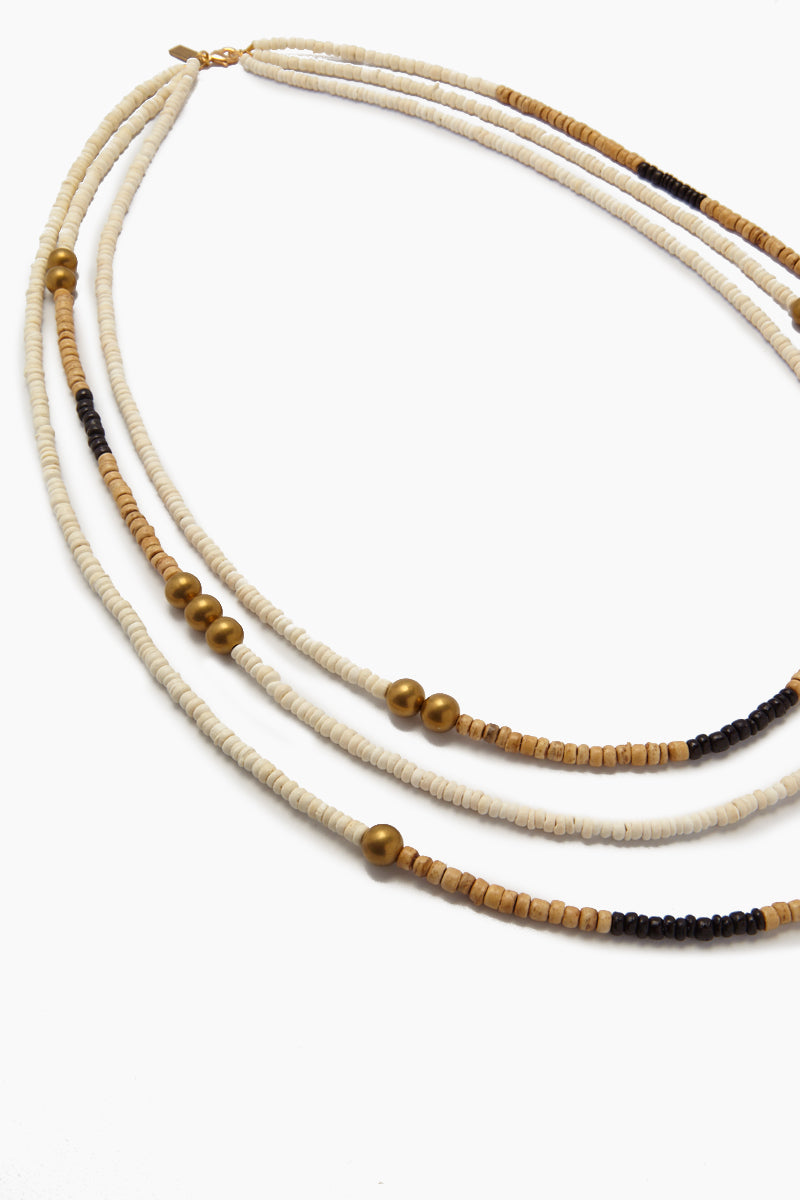 INK + ALLOY Long Triple Strand Natural Coconut Necklace - White & Black Jewelry   Long Triple Strand Natural Coconut Necklace - White & Black