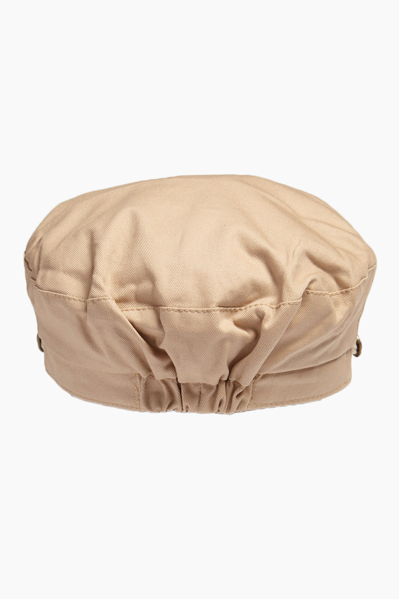 DAVID & YOUNG Solid Fisherman Cabbie - Beige Hat | | David & Young Solid Fisherman Cabbie - Beige  Back View Fisherman Cap  Tan Roped Accent with Side Button  Cinched Back Elastic Band