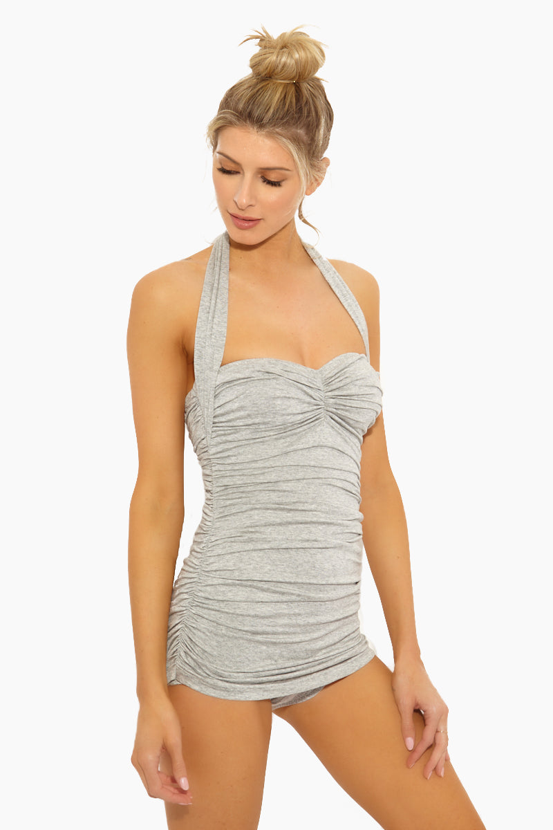 NORMA KAMALI Bill Mio Halter Sweetheart Neckline One Piece Swimsuit - Light Grey One Piece | Light Grey| Norma Kamali Bill Mio Halter Sweetheart Neckline One Piece Swimsuit - Light Grey Features:  Halter strap one piece  Sweetheart neckline Great for curves Shirred sides High cut leg Full bottom coverage Wrinkle free Front View