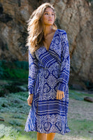 Sexy V-neck Below the Knee Long Sleeves Cotton Sheer Open-Back Cutout Slit Gathered General Print Dress