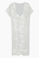 V-neck Ankle Length Floral Print Slit Sheer Cover Up/Kaftan