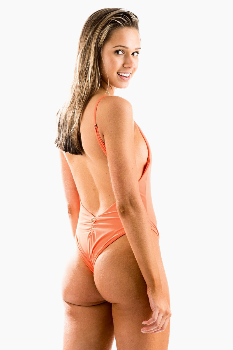 MOLLY J Momo One Piece Swimsuit- Tangerine One Piece | Tangerine | Molly J Momo One Piece Swimsuit Back View