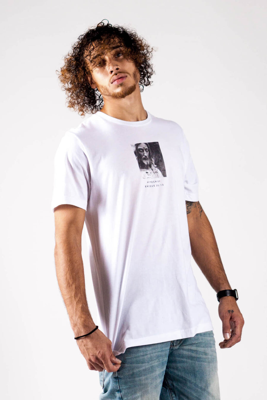 HYPOCRISY TEE IN WHITE - PURPLE & CHROME