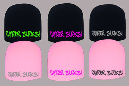 CANCER SUCKS! EMBROIDERED BEANIES
