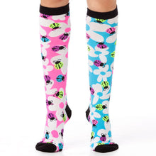 Load image into Gallery viewer, LADYBUGS & FLOWERS KNEE HIGH SOCKS