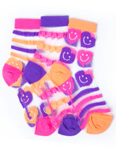 Load image into Gallery viewer, STRIPES & HEARTS JELLY ANKLE SOCKS
