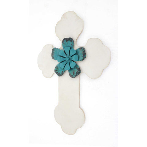White Rustic Cross Wooden Wall Decor (23.75 X 15.75 In)