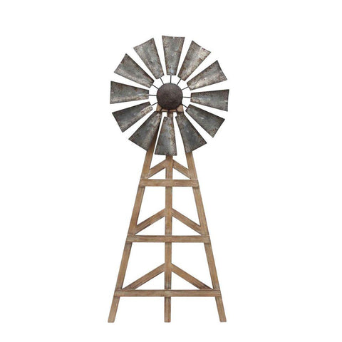 Wood And Metal Windmill Wall Decor, Brown And Gray
