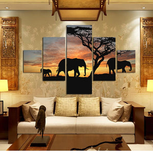 5 Panel Modern Printed 3 Elephants Sunset