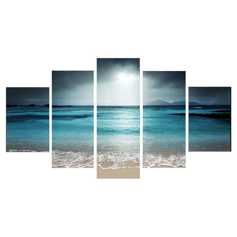 5 Pcs Modern Seaside Seascape Canvas Wall Art with Frames