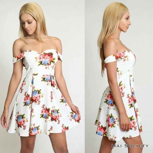 """CLAUDETTE"" OFF THE SHOULDER FLORAL DRESS"
