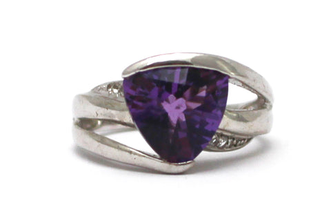 Amethyst and White Topaz Ring in Sterling Silver