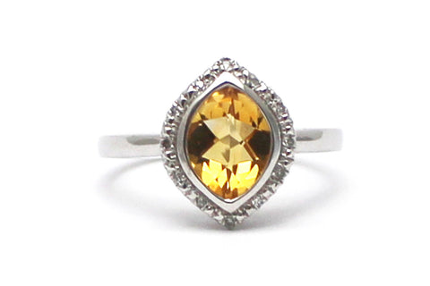 Citrine with Diamonds Ring in Sterling Silver