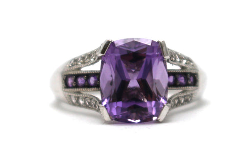 White Topaz and Amethyst Ring in Sterling Silver