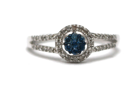 White and Blue Diamond Ring in Sterling Silver
