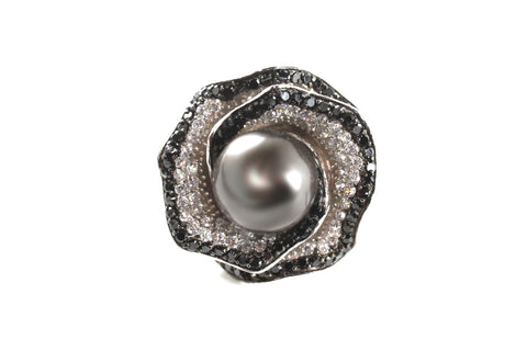 Black Pearl and CZ Rose Ring in Sterling Silver