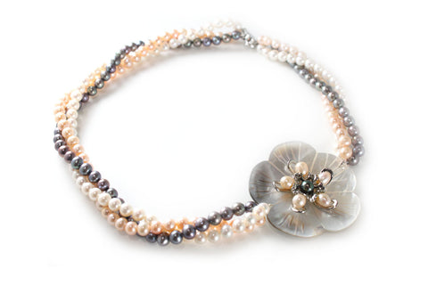 Flower Mother of Pearl with Multi-strand Freshwater Pearl Necklace