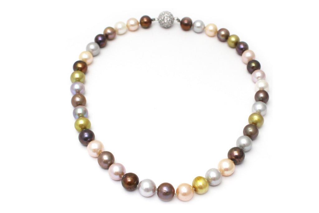 Multi-Color Freshwater Pearl Necklace with CZ and Sterling Silver Clasp