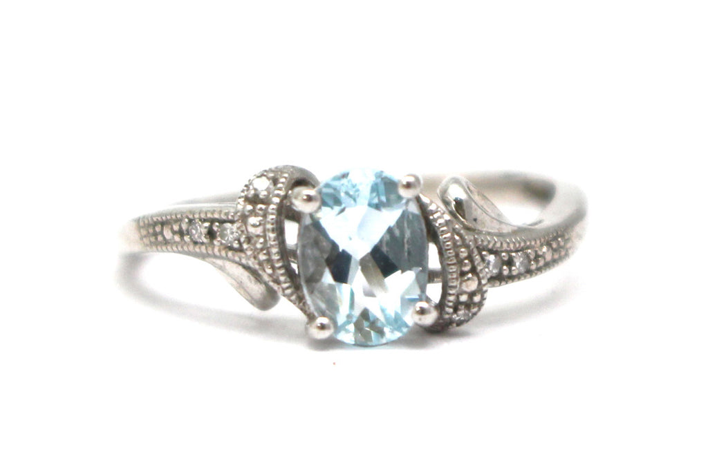 Diamond and Aquamarine Ring in Sterling Silver