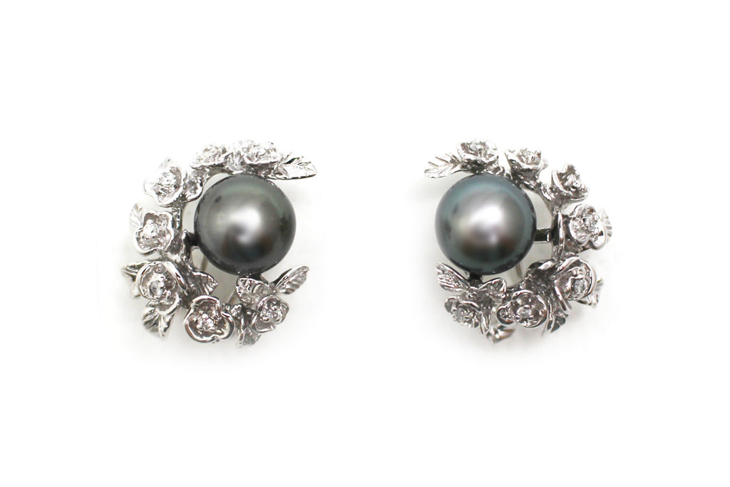 Tahitian Pearl and Diamond Earrings in 14k White Gold