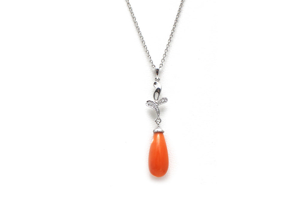 Diamond and Red Coral Necklace in 14k White Gold