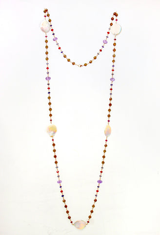 "Coin pearl, smokey quarts, garnet, amethyst, iolite necklace 36"" in 14KY"