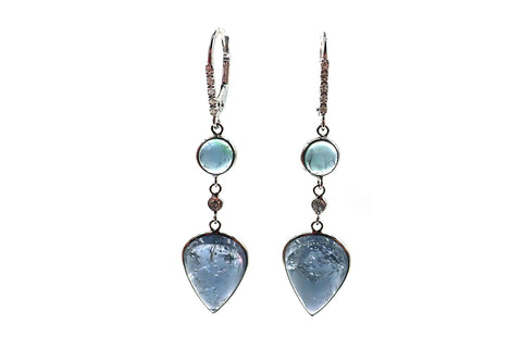 Paraiba Blue Tourmaline and Diamonds Earrings 14KT White Gold