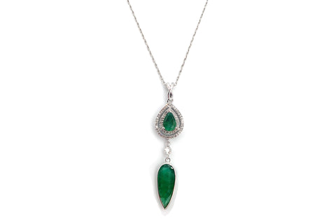 Colombian Emerald and Diamond Necklace in 14KT White Gold