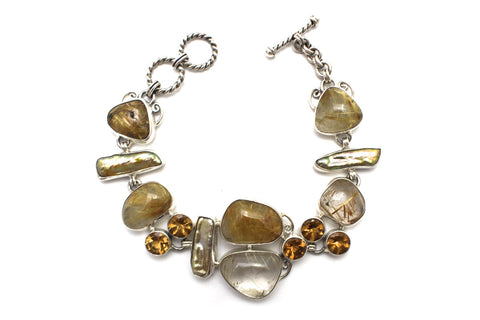 Rutilated Quartz and Tennessee Pearl Bracelet in Sterling Silver