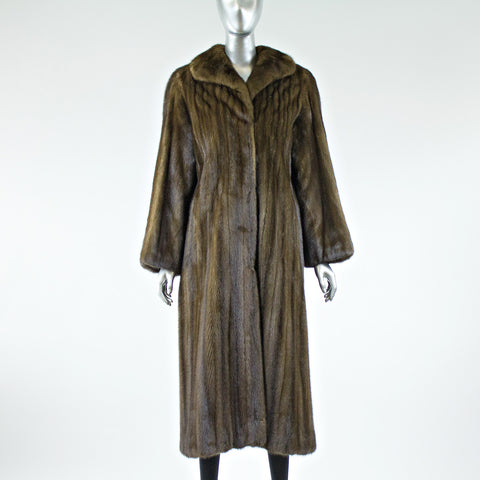 Demi Buff Mink Fur Full Length Coat - Size S - Pre-Owned