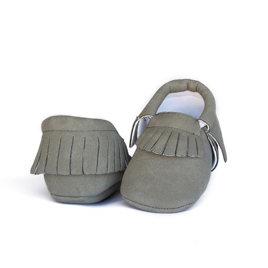 Emerson and Friends grey vegan suede fringe moccasin baby girl baby boy unisex neutral
