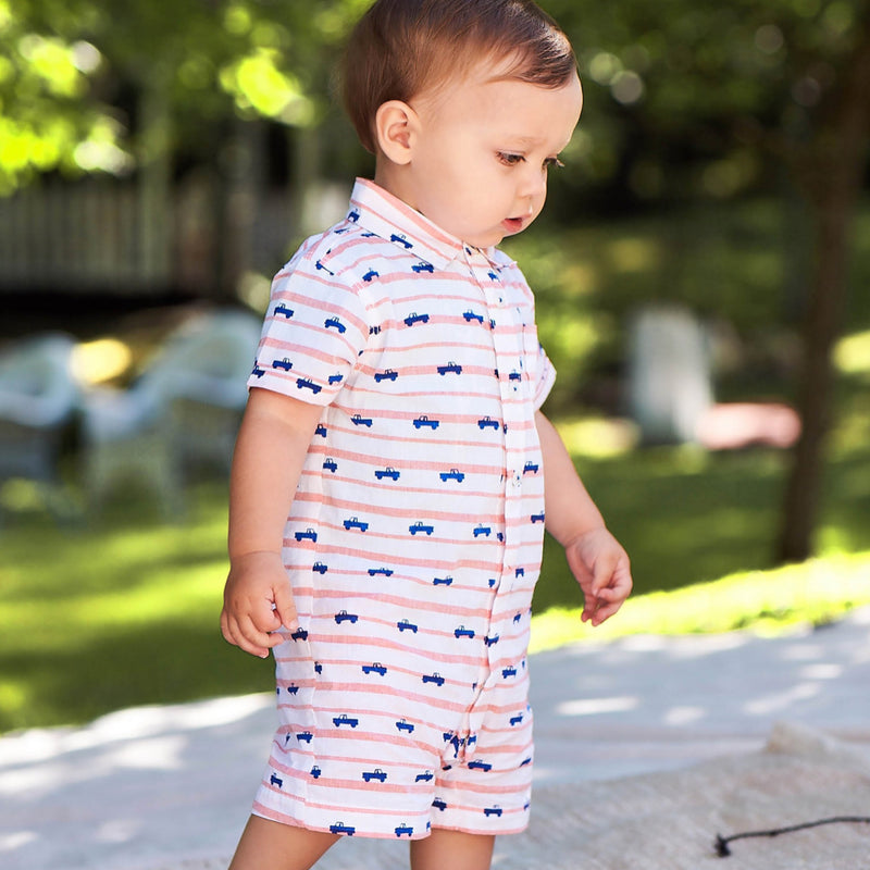 Hatley Tiny Pickup Truck Stripe Print Red White Blue Button Down Romper Onesie Baby Boy Tadpoles & Tiddlers Cleveland Bath Akron Ohio