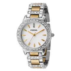 Fossil Fossil Ladies 3-Hand Stainless Steel Dual Toned Glitz Watch