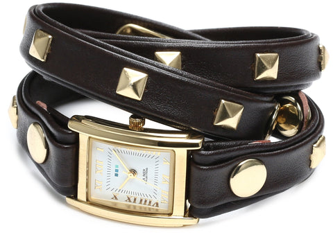 La Mer Collections Women's LMLW1010J Layered and Studded Chocolate and Gold Pyramid Studs Wrap Watch