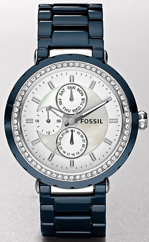 Fossil Women's CE1047 Blue Ceramic Quartz Watch with White Dial