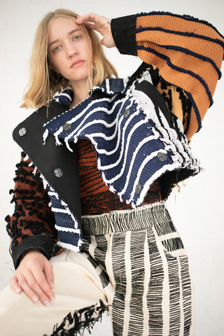 Luna Del Pinal Motocycle Cropped Jacket in Patchwork | Oroboro Store | New York, NY