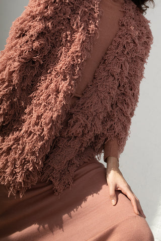 Ryan Roche Furry Cardigan in Rose Wood | Oroboro Store | New York, NY
