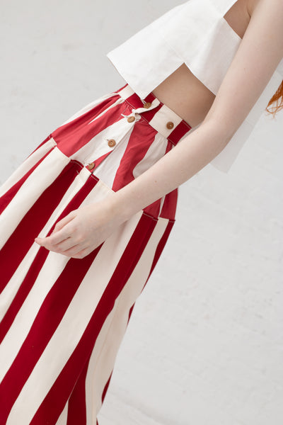 Visvim Elevation Long Skirt Cecile Stripe in Red | Oroboro Store | New York, NY