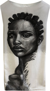 African Dress featuring portrait by Nigerian artist-  Kosisichukwu Nnebe.  African fashion.