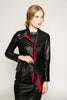 2-fer Vegetable dyed leather fit & flare jacket
