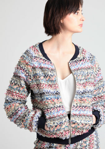 Feathered Melange novelty cotton bomber jacket