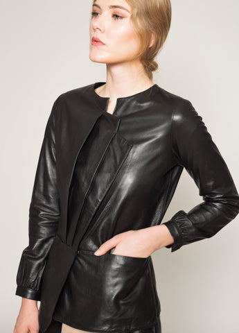 Pleated bust fitted waist leather Jacket