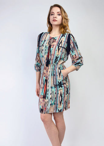 Tribal print silk dress with Fringe shoulder