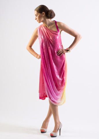 Aphrodite- Draped all over ombre sequin one shoulder dress - SOLD OUT
