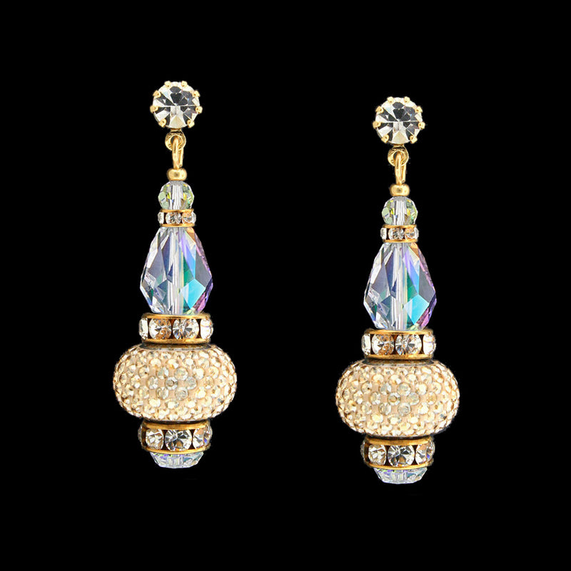Crystal Drop Earrings with Pavé Charms - gold, iridescent