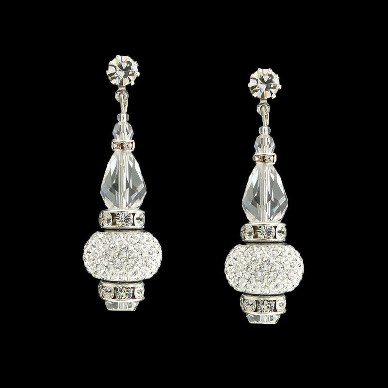Crystal Drop Earrings with Pavé Charms - silver