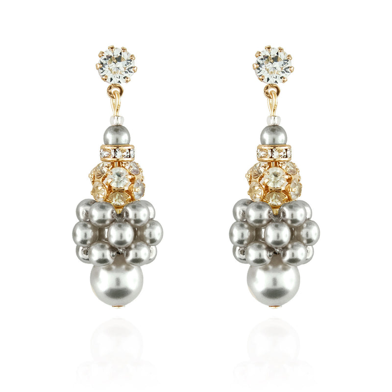 Pearl Cluster Earrings with Rhinestone Beads