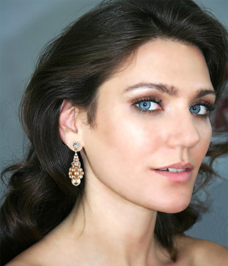 Pearl Cluster Earrings with Rhinestone Beads - on model